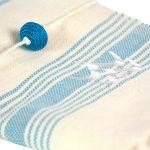 Lalla Fouta – Grande fouta bleue turquoise brodée en coton 2
