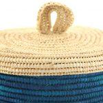 Sylsella – Grand panier en raphia bleu et blanc 2