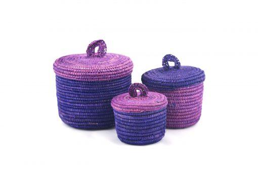 Sylsella Paniers en raphia violet panier de salle de bain