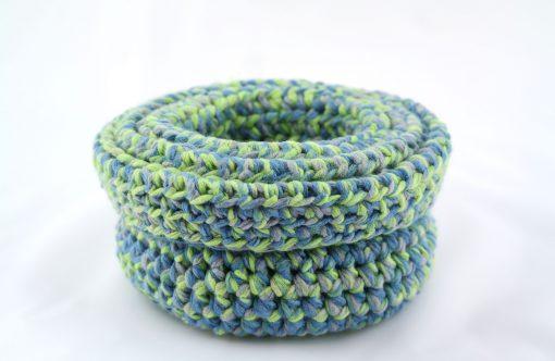 Bisofa Panier en laine bleu vert 3
