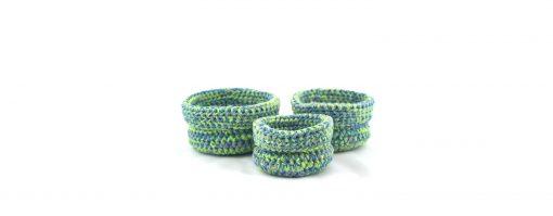 Bisofa Paniers en laine bleus verts 1