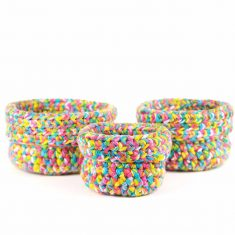 Bisofa panier laine multicolore