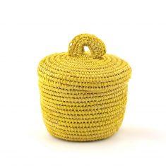 tislila petit panier en raphia jaune