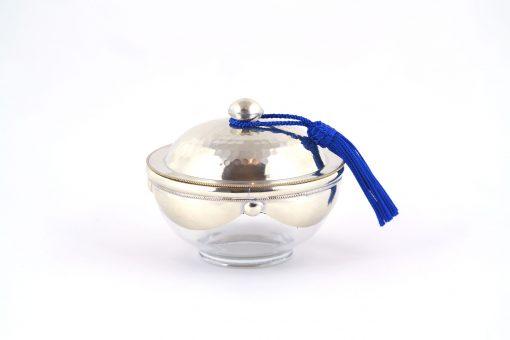 Yasaboun – Pot en verre à couvercle métallique à pompon bleu majorelle