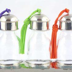 Yasaboun set de 3 flacons marocains en verre support maillechort métal