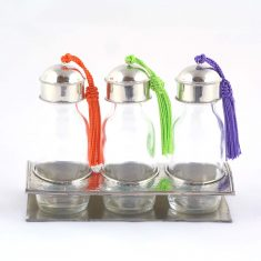 Yasaboun Set de 3 flacons marocains en verre support maillechort