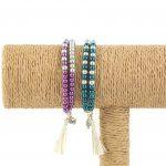 lounayal bracelet à pompon bleu bracelet à pompon argent violet