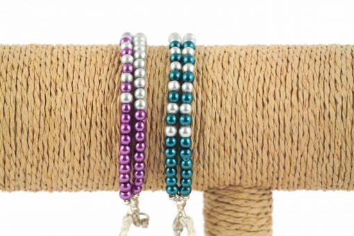 lounayal bracelet à pompon bleu bracelet à pompon argent violet 2