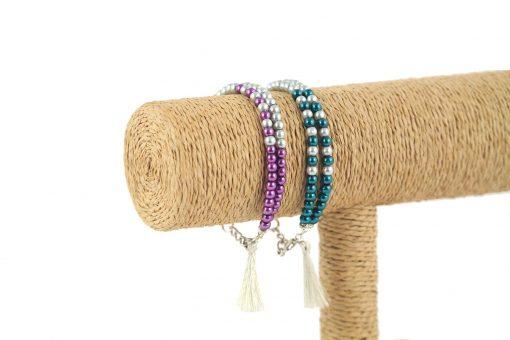 lounayal bracelet à pompon bleu bracelet à pompon argent violet 3