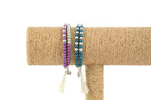 Lounayal – Bracelet à pompon en perles bicolores