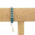 Lounayal – Bracelet à pompon en perles bicolores bleu canard & argent 1