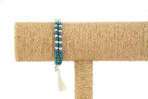 lounayal bracelet à pompon bleu bracelet à pompon argent 1