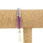 Lounayal – Bracelet à pompon en perles bicolores violet & argent 1