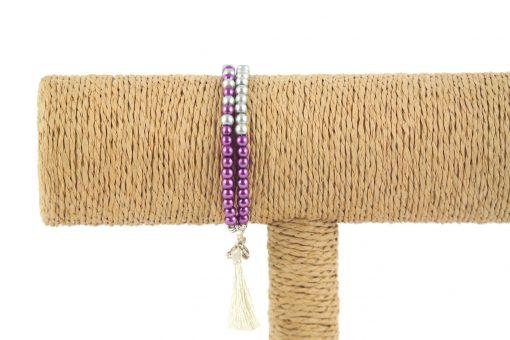 lounayal bracelet à pompon violet bracelet à pompon argent 1
