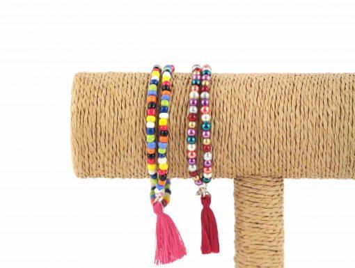 Lounayal – Bracelet à pompon en perles multicolores