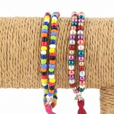 lounayal bracelet à pompon multicolore 2