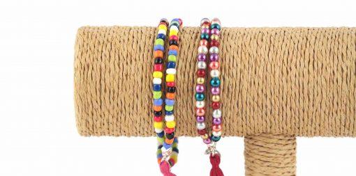 Lounayal – Bracelet à pompon en perles multicolores 2