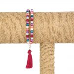 Lounayal – Bracelet à pompon en perles brillantes & pompon rouge