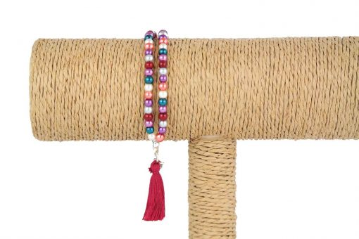 lounayal bracelet à pompon multicolore 1