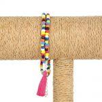 Lounayal – Bracelet à pompon en perles multicolores & pompon assorti