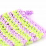 Kyskessa – Gant de toilette en crochet violet clair & vert fluo 2
