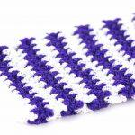 Kyskessa – Gant de toilette en crochet violet foncé & blanc 2