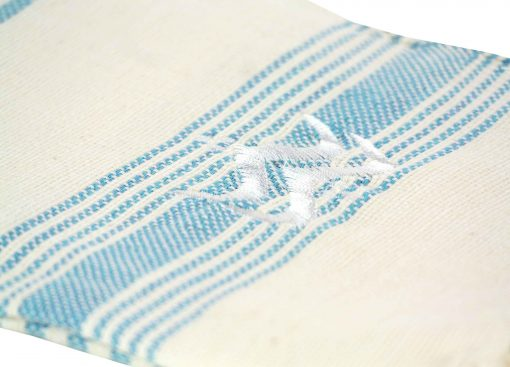 Lalla Fouta – Petite fouta bleu turquoise brodée en coton 2