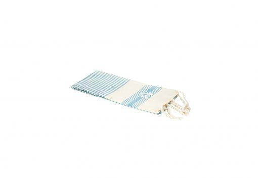 Lalla Fouta – Petite fouta bleu turquoise brodée en coton