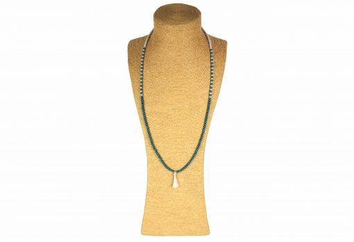 Lounayal – Sautoir à pompon en perles bicolores bleu canard & argent 1