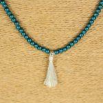 Lounayal – Sautoir à pompon en perles bicolores bleu canard & argent 3