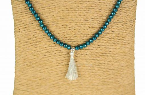 Lounayal sautoir à pompon argent bleu canard perles bicolores collier à pompon 2
