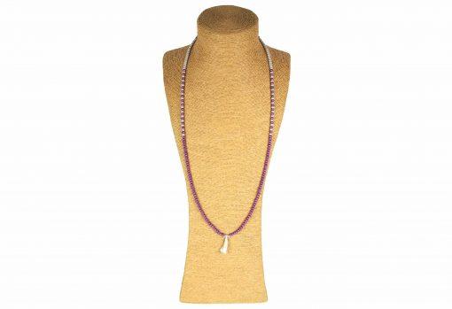 Lounayal – Sautoir à pompon en perles bicolores violet & argent 1