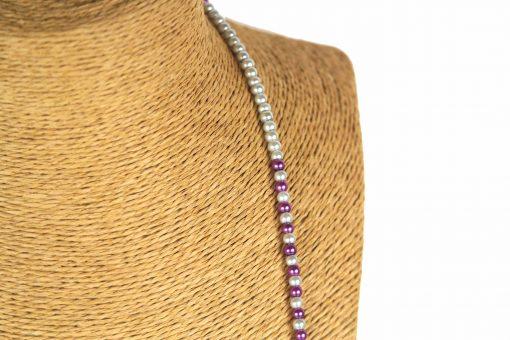 Lounayal – Sautoir à pompon en perles bicolores violet & argent 2