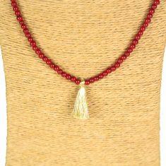 Lounayal sautoir à pompon or rouge perles bicolores collier à pompon 2