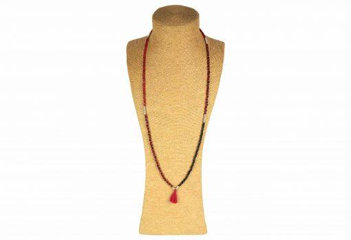 Lounayal – Sautoir à pompon en perles bicolores rouge & noir 1