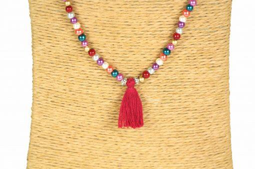 Lounayal sautoir à pompon collier à pompon perles brillantes 2