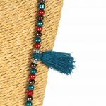 Lounayal – Sautoir à pompon en perles multicolores à perles multicolores bleu, marron & rouge 2