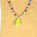 Lounayal – Sautoir à pompon en perles multicolores à perles multicolores et pompon vert 2