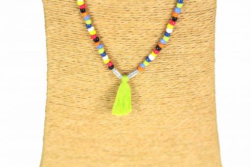 Lounayal sautoir à pompon collier à pompon multicolore vert 2