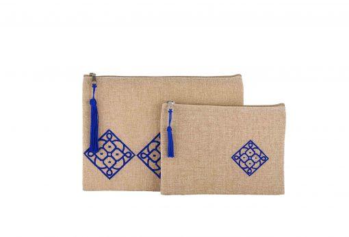 Matrouza – Duo de trousses andalouses bleues en jute brodée