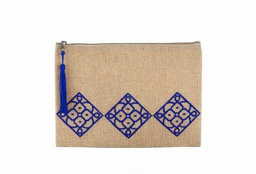 Matrouza – Grande trousse andalouse bleue en jute brodée 1