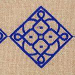 Matrouza – Grande trousse andalouse bleue en jute brodée 2