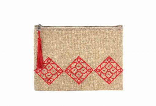 matrouza grande trousse andalouse rouge trousse jute trousse brodée trousse de toilette maroc 1