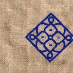 Matrouza – Petite trousse andalouse bleue en jute brodée 2