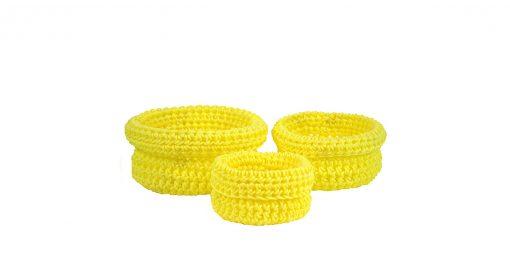Bisofa – Set de trois paniers colorés en corde jaune