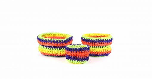 Bisofa – Set de trois paniers colorés en corde multicolore