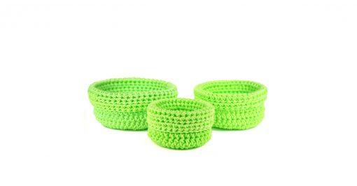 Bisofa – Set de trois paniers colorés en corde vert fluo