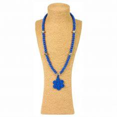 sautoir à perles en bois collier à perles en bois sautoir perles bois sautoir perles bleu