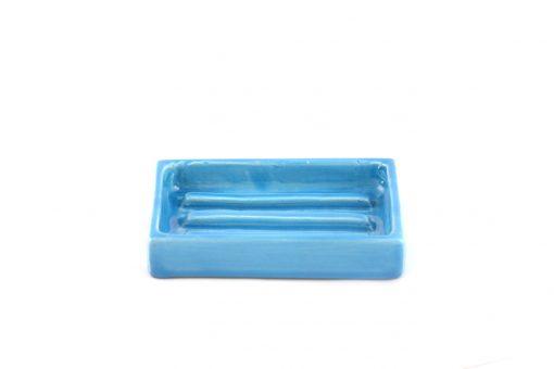 Damya – Porte-savon céramique bleu 1