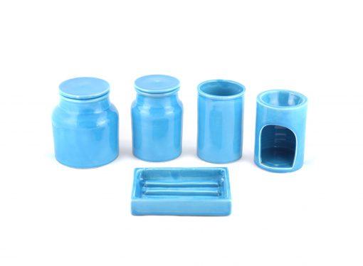 set de salle de bain céramique bleu set salle de bain céramique bleu ensemble salle de bain poterie set de salle de bain bleu